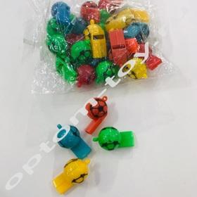 Детские свистки SOCCER, 3,5 см., без шнурка, 200 наборов по 12 шт., оптом