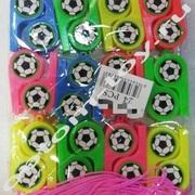 Детские свистки ФУТБОЛ, 5 см., со шнурком, 100 наборов по 24 шт., оптом