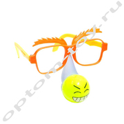 Очки карнавальные с носом в виде смайлика, оптом