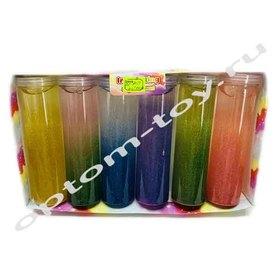 Разноцветные слаймы с блестками в колбе, в наборе 6 шт., оптом