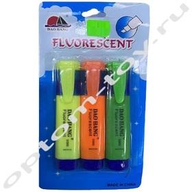 Фломастеры флуоресцентные FLUORESCENT, 10 наборов по 3 шт., оптом