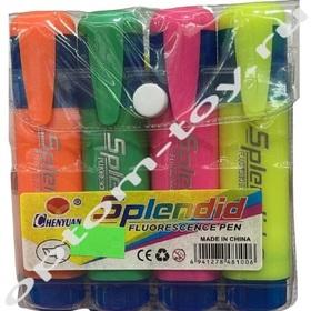 Маркеры флуоресцентные SPLENDID, 10 наборов по 4 шт., оптом