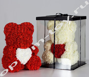 Мишка из роз, 40 см., с сердцем, оптом