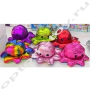 Двухсторонние мягкие игрушки ОСЬМИНОЖКА, блестящие, набор 12 шт., оптом