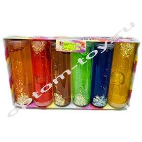 Цветные слаймы с блестками в колбе, в наборе 6 шт., оптом